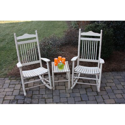 3 Piece Adult Rocking Chair & Table Set Finish: Unfinished