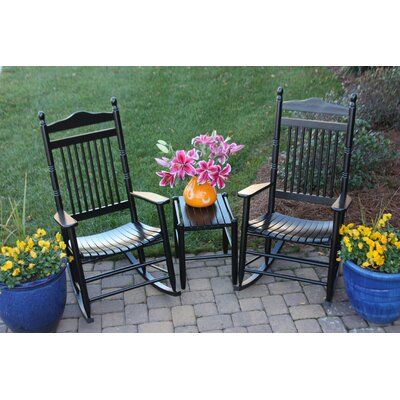 3 Piece Adult Rocking Chair & Table Set Finish: Black