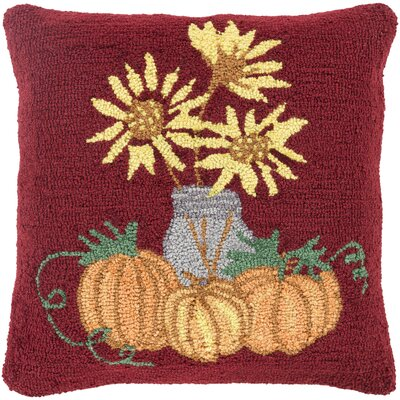 Allentown Sunflowers Pillow Cover Color: Red