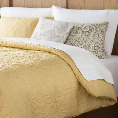 Margee Cotton Coverlet Set Size: Queen, Color: Gold