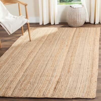 Fithian Hand-Woven Natural Area Rug Rug Size: 5 x 8