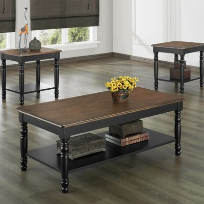 Frona 3 Piece Coffee Table Set Finish: Antique Black