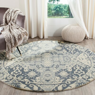 Katy Hand-Tufted Light Gray / Ivory Area Rug Rug Size: 4 x 6