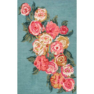 Jeanlouis Hand-Hooked Light Blue/Pink Area Rug Rug Size: 3 x 5