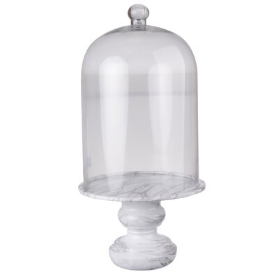 Clear Glass Dome Marble Base Cloche Size: 22 H x 11 W x 11 D