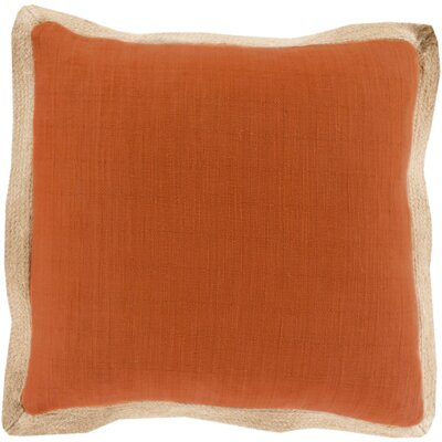 Fern Jute Flange Throw Pillow Cover Color: OrangeBrown