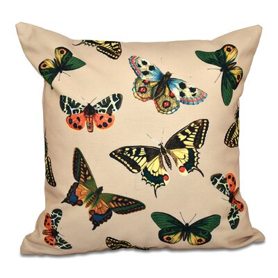 Swan Valley Butterflies Animal Print Throw Pillow Color: Taupe, Size: 20 H x 20 W