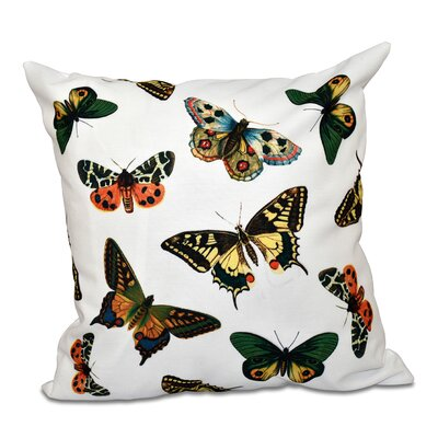 Swan Valley Butterflies Animal Print Throw Pillow Size: 18 H x 18 W, Color: White