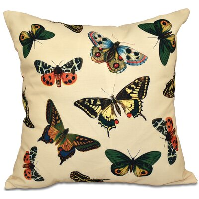 Swan Valley Butterflies Animal Print Throw Pillow Size: 16 H x 16 W, Color: Yellow