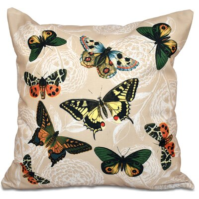 Swan Valley Antique Butterflies and Flowers Animal Print Throw Pillow Size: 18 H x 18 W, Color: Taupe