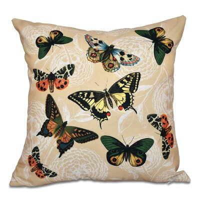 Swan Valley Antique Butterflies and Flowers Animal Print Throw Pillow Size: 16 H x 16 W, Color: Cream