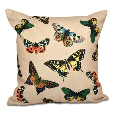 Swan Valley Butterflies Animal Outdoor Throw Pillow Size: 18 H x 18 W, Color: Taupe