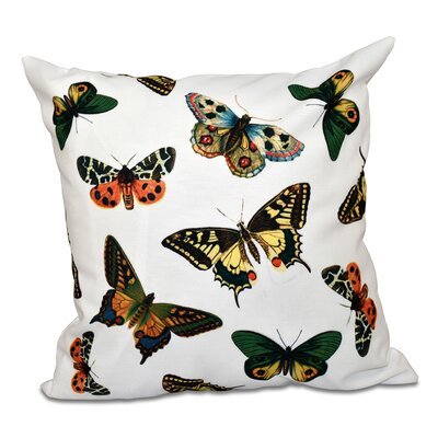 Swan Valley Butterflies Animal Outdoor Throw Pillow Size: 20 H x 20 W, Color: White