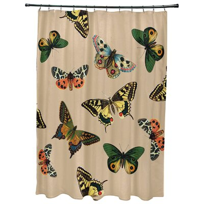 Swan Valley Butterflies Animal Print Shower Curtain Color: Taupe