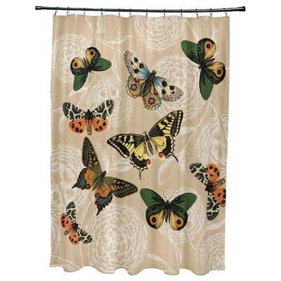 Swan Valley Antique Butterflies Shower Curtain Color: Taupe