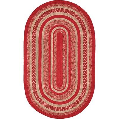 Gertrude Red/Beige Area Rug Rug Size: Oval 18 x 26
