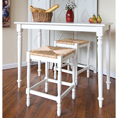 Emilia 3 Piece Counter Height Pub Table Set Color: White