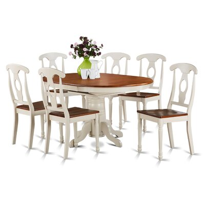 Aimee 7 Piece Dining Set Finish: Buttermilk and Cherry