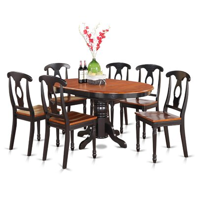 Aimee 7 Piece Dining Set Finish: Black and Cherry