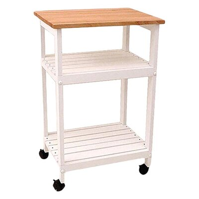 Allie Microwave Kitchen Cart with Butcher Block Top Color: White