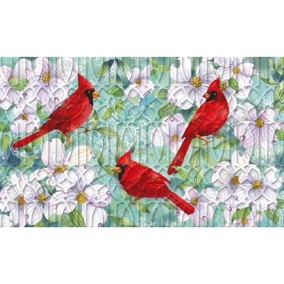 Lheureux Cardinals and Dogwood Embossed Doormat