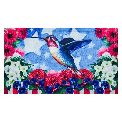 Lirette Patriotic Hummingbird Embossed Doormat