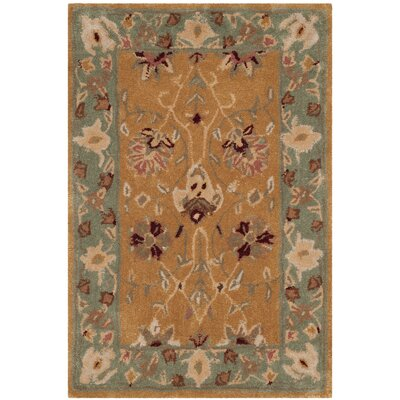 Lupien Hand-Hooked Copper/Moss Area Rug Rug Size: Rectangle 6 x 9