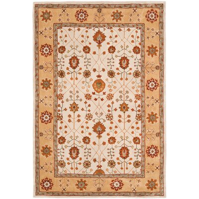 Malveaux Hand-Hooked Orange/Beige Area Rug