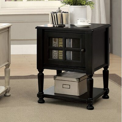 Letellier End Table With Storage Color: Antique Black
