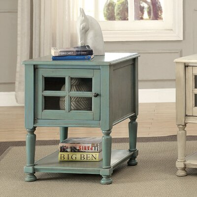 Letellier End Table With Storage Color: Antique Teal