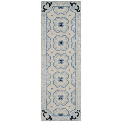 Perine Hand-Tufted Ivory/Blue Area Rug Rug Size: Rectangle 26 x 4