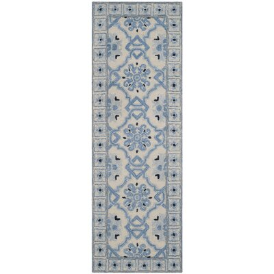 Perine Hand-Tufted Ivory Blue Area Rug Rug Size: Runner 23 x 7