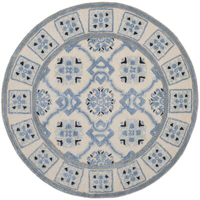 Perine Hand-Tufted Ivory Blue Area Rug Rug Size: 26 x 4