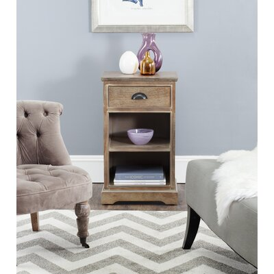 Oreana End Table With Storage Color: Washed Natural Pine