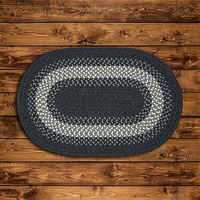 Serafin Hand-Woven Wool Charcoal Area Rug Rug Size: Oval 2 x 10