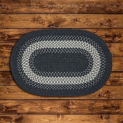 Serafin Hand-Woven Wool Charcoal Area Rug Rug Size: Oval 12 x 15