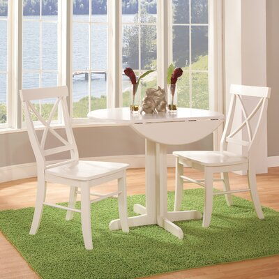 Trepanier 3 Piece Drop Leaf Dining Set Color: Linen White