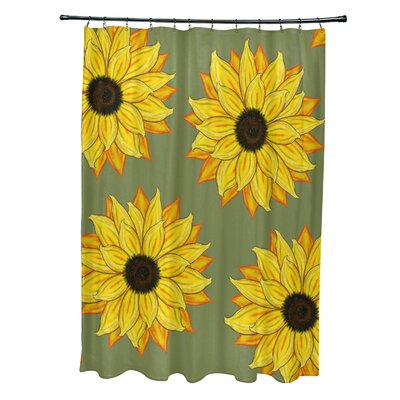Vieux Sunflower Power Flower Print Shower Curtain Color: Green