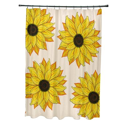 Vieux Sunflower Power Flower Print Shower Curtain Color: Yellow