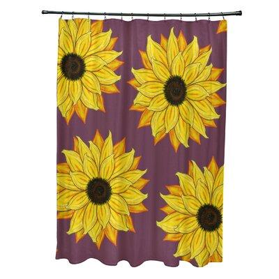 Vieux Sunflower Power Flower Print Shower Curtain Color: Purple