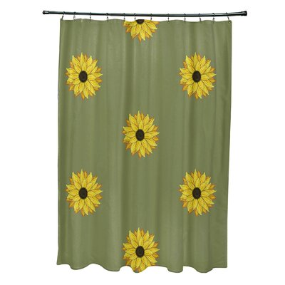 Vieux Sunflower Frenzy Flower Print Shower Curtain Color: Green