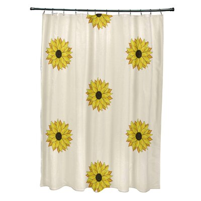 Vieux Sunflower Frenzy Flower Print Shower Curtain Color: Off White