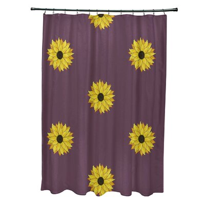 Vieux Sunflower Frenzy Flower Print Shower Curtain Color: Purple