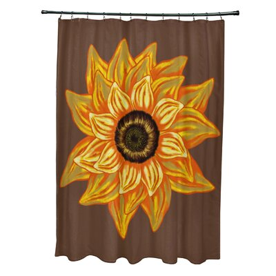 Essonne El Girasol Feliz Flower Print Shower Curtain Color: Brown