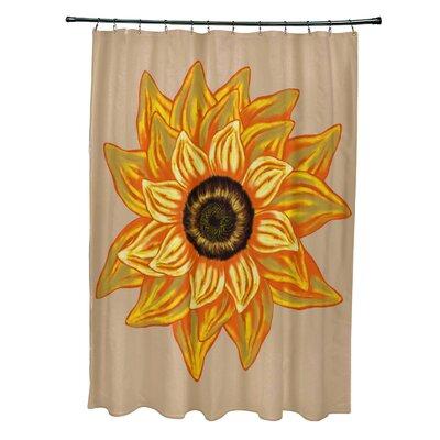 Essonne El Girasol Feliz Flower Print Shower Curtain Color: Beige/Taupe