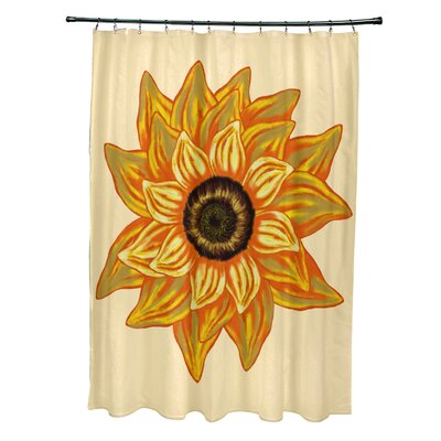 Essonne El Girasol Feliz Flower Print Shower Curtain Color: Yellow