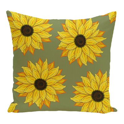 Vieux Sunflower Power Flower Print Throw Pillow Color: Green
