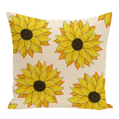 Vieux Sunflower Power Flower Print Throw Pillow Color: Yellow