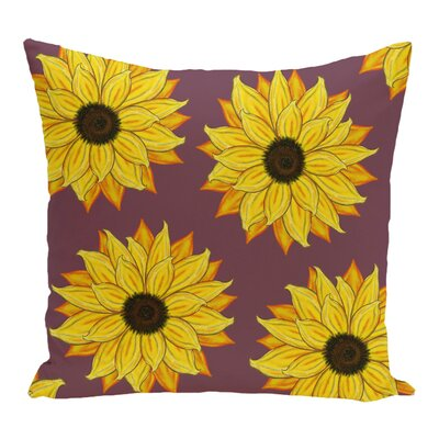 Vieux Sunflower Power Flower Print Throw Pillow Color: Purple