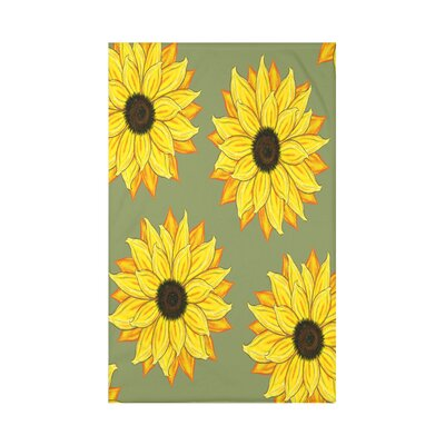 Vieux Sunflower Power Flower Print Throw Blanket Size: 50 H x 60 W x 0.5 D, Color: Green